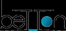 """logo de la ville de Betton. Le mot """"Betton"""" a son """"o"""" en bleu, et les deux """"t"""" sont reliés entre eux par une ligne bleue en bas"""