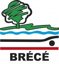 Logo de la ville de Brécé représentant un arbre au pied duquel coule une rivière