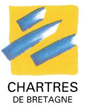 Logo de la ville de Chartres-de-Bretagne. Trois traits bleus sur un carré jaune