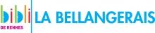 """Logo de la bibliothèque composé du diminutif """"bibli"""" en couleurs, d'un trait vertical vert et du mot """"La Bellangerais"""" en bleu à la suite. Sous """"bibli"""" est écrit """"de Rennes"""" en rose"""