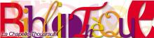 """Logo de la bibliothèque. Le mot bibilothèque est écrit en grand et prend toute la l'image, de manière stylisée. Chaque lettre est dans une graphie, une taille et une couleur différente : rouge, jaune ou violet sombre. """"La Chapelle-Thouarault"""" est inscrit en surrimpression, en petit, en bas à gauche du logo."""