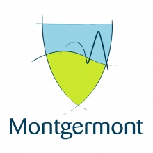 Logo de la comune de Montgermont, en forme de blason composé de deux couleurs le vert et le bleu