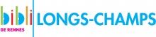 """Logo de la bibliothèque composé du diminutif """"bibli"""" en couleurs, d'un trait vertical vert et du mot """"Longs-Champs"""" en bleu à la suite. Sous """"bibli"""" est écrit """"de Rennes"""" en rose"""