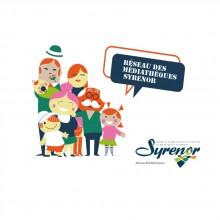 Logo réseau Syrenor : dessin type bande dessinée représentant une famille.