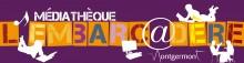 """logo de la bibliothèque. les mots """"médiathèque l'embarcadère Montgermont"""". silhouettes de personnes allongées ou assises en train de lire, travailler ou discuter à une table. Silhouette d'un ordinateur, d'une note de musique et d'un livre"""