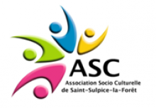logo de l' association socio culturell, bonhommes en rose, vert bleu et jaune