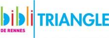 """Logo de la bibliothèque composé du diminutif """"bibli"""" en couleurs, d'un trait vertical vert et du mot """"Triangle"""" en bleu à la suite. Sous """"bibli"""" est écrit """"de Rennes"""" en rose"""