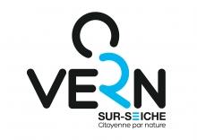Logo de la ville de Vern, écriture Vern stylisée avec le R en bleu