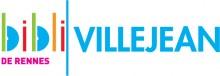 """Logo de la bibliothèque composé du diminutif """"bibli"""" en couleurs, d'un trait vertical vert et du mot """"Villejean"""" en bleu à la suite. Sous """"bibli"""" est écrit """"de Rennes"""" en rose"""