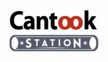 Logo Cantook Station : Letters stylisées noires, rouges et grise sur fond blanc