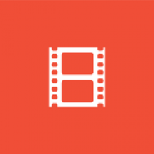 Logo Archive : bobine de film blanche sur fond orange