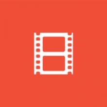 Logo Archive : bobine de film blanche sur fond orange
