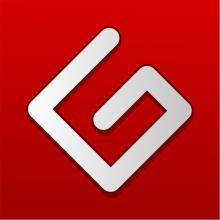 Logo Projet Gutenberg : lettre blanche stylisée sur fond rouge