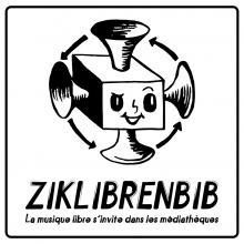 Logo Ziklibrenbib : tête de personnage constitué de hauts parleurs. Lettres noires sur fond blanc