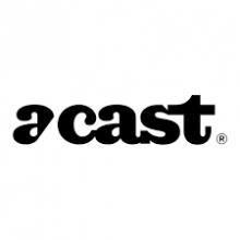 Logo Acast : lettres stylisées noires sur fond blanc.