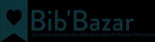 """bannière avec un marque-page estampillé d'un coeur. À sa droite, le mot """"Bib'Bazar"""