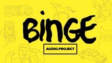 Logo Bien Audio : Lettres stylisées noires sur trame à dominante jaune incrustée de personnages.