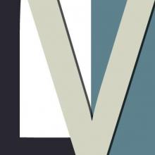 Logo LibriVox : lettres stylisées noires et beiges sur fond bleu et gris