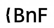 Lettres stylisées noires sur fond blanc.