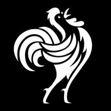 Coq stylisé blanc sur fond noir