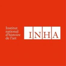 Logo INHA. Lettres stylisées blanches sur fond rouge. Les lettres du sigle sont de couleur rouge et intégrées à des carrés blancs.