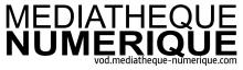 Logo Médiathèque numérique : lettres stylisées noires sur fond blanc.
