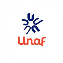 Logo UNAF : lettres stylisées bleues et orange sur fond blanc.