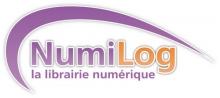 Logo Numilog : Lettres mauve et orange stylisées sur fond blanc