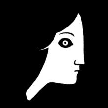logo de la bande dessinée. Un jeune fille de profil sur fonds noir. Ses cheveux se fondent dans l'arrière-plan.