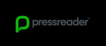 """Logo Press Reader : texte en noir précédé d'un """"P"""" stylisé vert"""