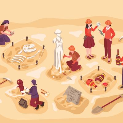 Illustration d'archéologues sur un site de fouilles.