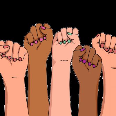 Illustration de poings féminins levés.