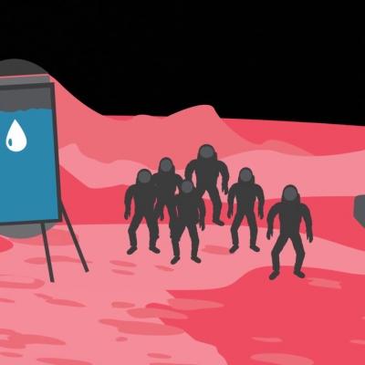 Illustration d'astronautes sur la planète Mars.