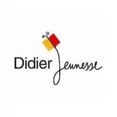 """logo de l'éditeur Didier Jeunesse. Le """"J"""" sert de tige à une fleur dont les pétales sont un livre rouge et jaune"""