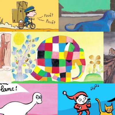 Montage d'illustrations d'albums jeunesse de l'École des loisirs.