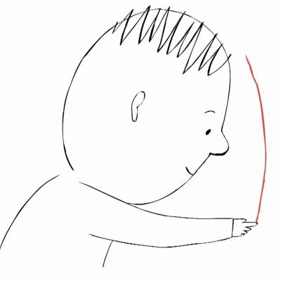 Un personnage d'enfant trace un trait rouge sur une surface blanche