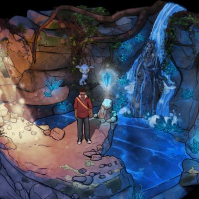 Écran du jeu - un jeune homme et une créature dans une caverne