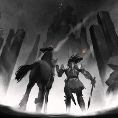 Visuel extrait du jeu vidéo mettant en scène le héros Edward Blake, le chevalier aveugle et sa fille Louise.