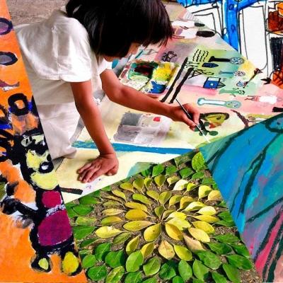 Montage d'oeuvres et de photos d'enfants dessinant.