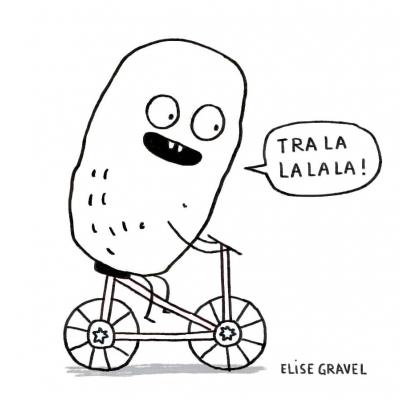 Illustration d'un personnage en forme de patate faisant du vélo.