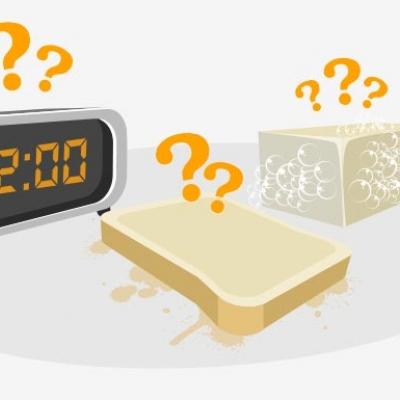 Illustration comprenant un radio réveil, une tranche de pain beurrée et un savon.