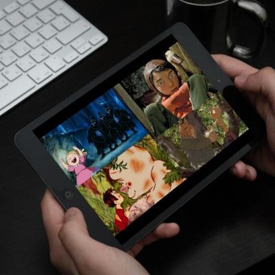 L'écran en gros plan d'une tablette tactile.