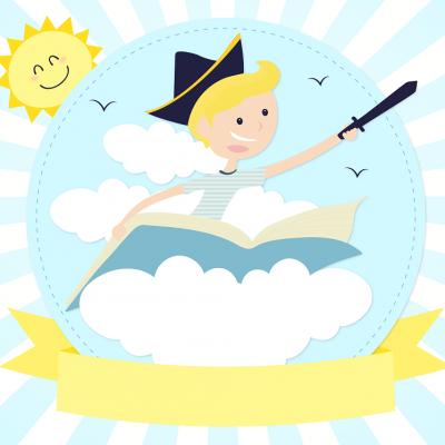 Un jeune garçon chevauche un livre à travers les nuages