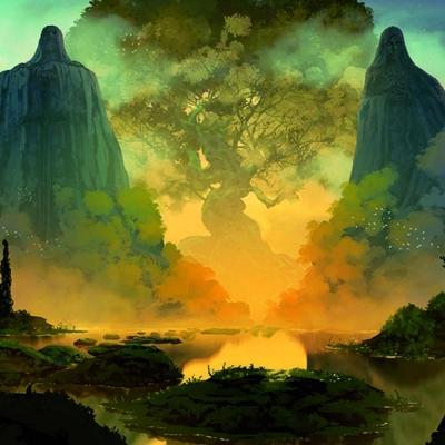 Illustration d'un paysage fantastique.