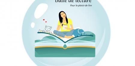Illustration d'un personnage écrivant en position assise sur un livre géant.