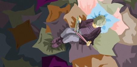 Illustration d'un enfant lisant sur des coussins.