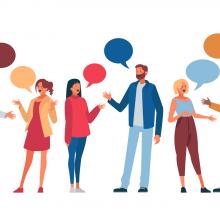 Illustration de personnes échangeant ensemble.