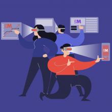 Illustration comprenant trois personnages équipés de casques de réalité virtuelle.