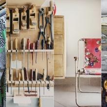 Montage de quatre photos : des vêtements, un atelier et ses outils, du mobilier, des objets déco.
