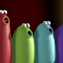Des petites créatures colorées chantant un opéra